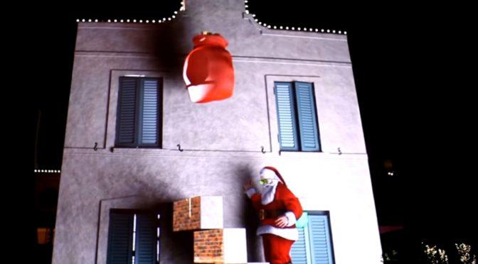 Buon Natale con Babbo Natale 3D Sul Muro